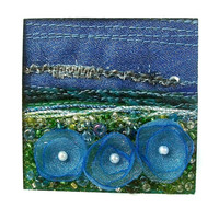 Midnight garden - Blue flowers card - handmade organza flowers