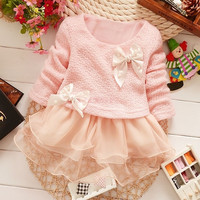 Baby Kids Children's Clothing Spring Winter Toddlers Princess Dresses Girls Lace Bowknot Dress SV007016|27701 Children's Clothing