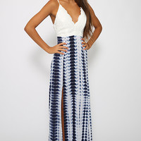 White Animal Skin Pattern Deep V-Neck High Slit Maxi Dress
