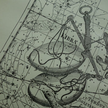 Old star chart Dutch vintage astronomy map of Libra Virgo sign hemisphere constellation stars Weegschaal Maagd zodiac astrology 10x15''