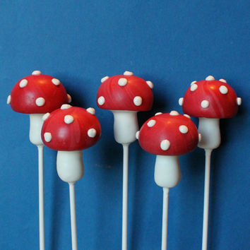 12 Toadstool Mushroom Cake Pops for Woodland, Forest, Fairy Tale, Alice in Wonderland, Mario, Tea Party favor, Pixie birthday wedding shower