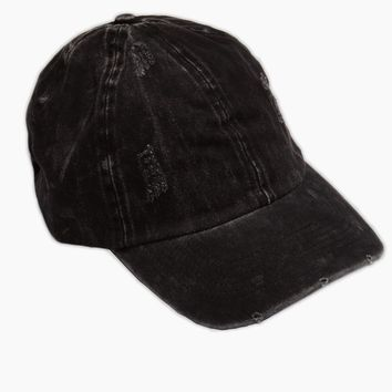 Washed Out Retro Baseball Cap - Black