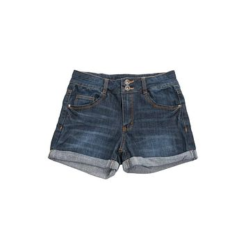 Roll Up Two Button Denim Shorts - Dark Denim