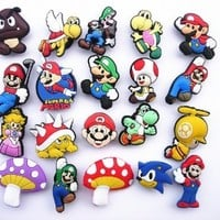 20 Super Mario Shoe Charm Fits Jibbitz Croc Shoes & Bracelets