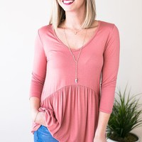 This Is Me Babydoll Top - Dusty Rose