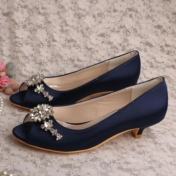 (21 Colors) Wedopus Low Heel Peep toe Navy Blue Satin Bridal Prom Shoes Pumps Plus Size 42