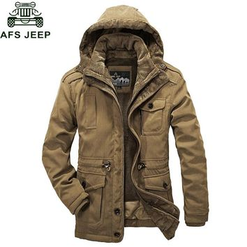 Afs Jeep Brand Clothing 2017 Winter New Parka Men Thick Warm Windbreaker Fleece Jacket Men Hat And Liner Detachable Winter Coat