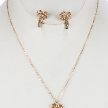 Brown Metal Palm Tree Charm Necklace And Earring Set