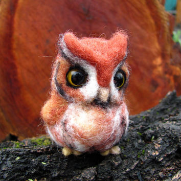 Needle felted owl Red Screech owl by HandmadeByNovember on Etsy