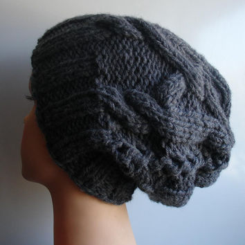 2aed467b410 Cable Knit Hat Slouchy Beanie Large hat Charcoal Gray Slouchy Beanie Knit  Cable hat Oversized Baggy