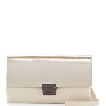Brunello Cucinelli Metallic Leather Crossbody City Wallet, Beige