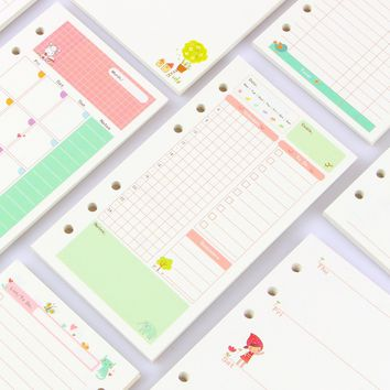 New cute spiral inner paper core stationery for notebook,7 kinds:line,grid,blank,point,to do ,daily/month/week planner A5A6