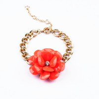 Red Flower Golden Chain Bracelet