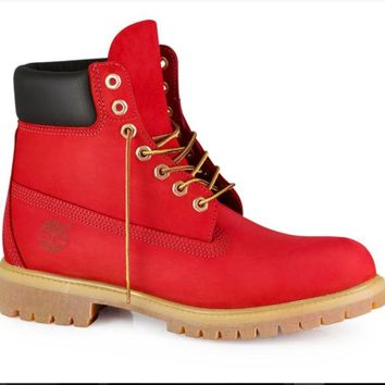 Custom Red Dye Colored Timberland Boots