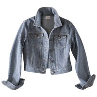Mossimo Supply Co. Juniors Cropped Denim Jacket - Railroad Stripe