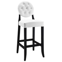 Buttoned Ghost Bar Stool in White