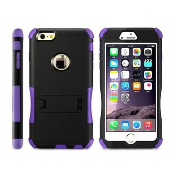 TPU & Pc Mobile Phone Case 3 in 1 Kickstand Shockproof Case Fit For iPhone 6 (Purple)