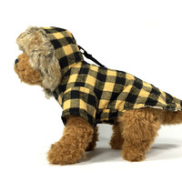 Apricot/Black Checked Dog Jacket with Hoodie