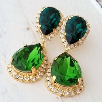 Emerald crystal earrings, Emerald green dark green Chandelier earrings, Bridal earring, Dangle earrings, Drop earrings, Swarovski earrings