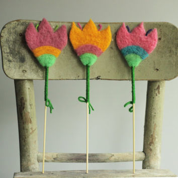 Spring Decoration - Set Of  ThreeFluffy Felted Flowers -  Needle Felted - Home Decoration