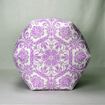 "18"" Wide By 14"" Tall Pouf Ottoman Pillow in Lavender and White Damask Premier Abigail"
