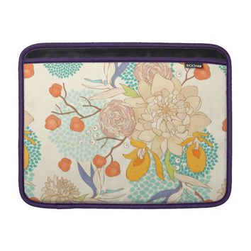 Modern Peony Flower Pattern Macbook Air Sleeve
