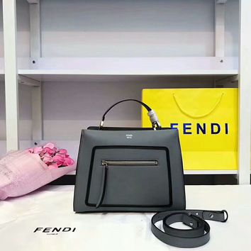 """FENDI""Fashion simple leather handbag"