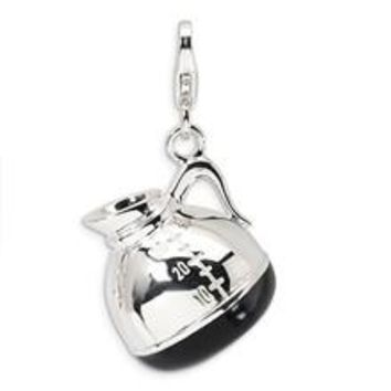 3-D Enameled Coffee Pot Charm in Sterling Silver