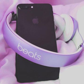 Beats Solo 3 Regardless of age Wireless Magic Sound Bluetooth Wireless Hands Headset MP3 Music Headphone With Microphone Line-in Socket TF Card Slot For Couple Purple