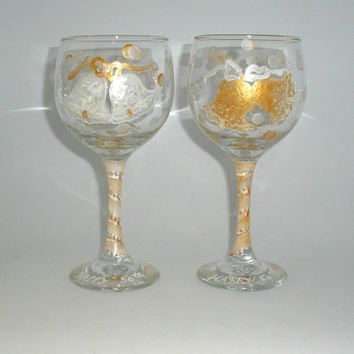 Painted Golden Wedding Anniversary Wine by PaintedDesignsByLona