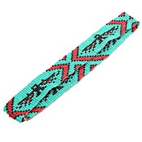 Coral and Turquoise Tribal Pattern Beaded Headwrap / Headband:Amazon:Clothing