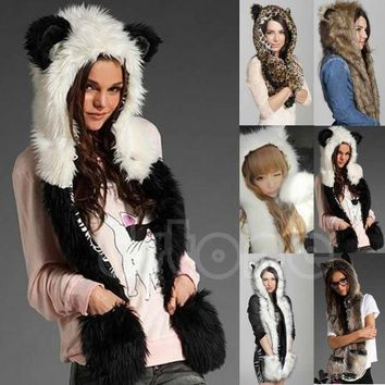 CREYCI7 10 Styles Warm Winter Faux Animal Fur Hat Fluffy Plush Cap Dint Hood Scarf Shawl with Gloves Set Leopard Panda Hat Scarf Set
