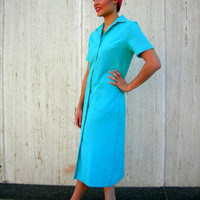 1960s Vintage Blue Shirtwaiste Dress Classic turquoise blue Medium