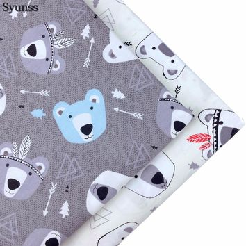 Syunss Cotton Fabric Fat Quarte DIY Handmade Sewing Patchwork Meter Baby Cloth Bedding Textiles Quilt Tilda Tissus Grey Cartoon