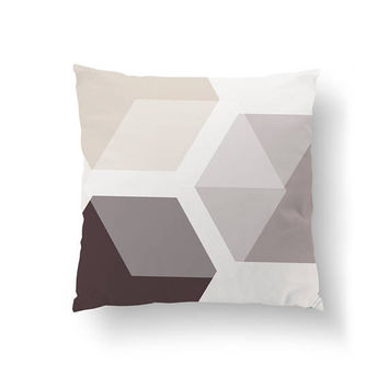 Textured Hexagons, Brown Beige Shapes, Simple Art, Decorative Pillow, Mid Century, Throw Pillow, Home Decor, Cushion Cover, Watercolor Decor