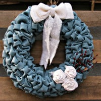 Burlap Bubble Wreath, Burlap Wreath