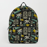 Island Tiki - Black Backpacks by Heather Dutton