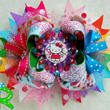 Hello Kitty Boutique Hair bow , Kitty Ott bow, Layered hair bow , Hello Kitty Stacked Bow