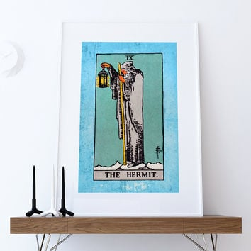 Tarot Print The Hermit Retro Illustration Art Rider Print Vintage Giclee on Cotton Canvas or Paper Canvas Poster Wall Decor
