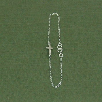 Sideways Cross Bracelet, Tiny Sideways Cross, Silver Chain Bracelet, Tiny Silver Cross, Fine Silver Chain, Cross Bracelet, Christian Jewelry