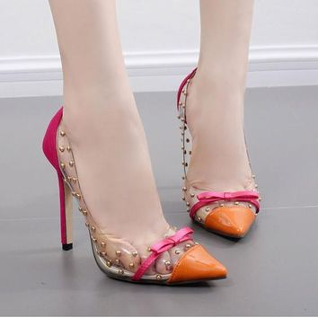 Transparent Clear Rivet Bow high heel Stiletto Fashion Woman Pumps
