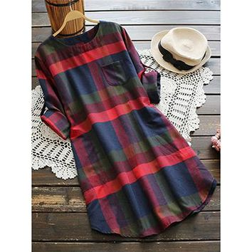 Women Casual Plaid Rolled Long Sleeve Dresses Fall  Fashion New Chest Pocket Tunic Dress