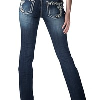 Miss Me Women's Medium Wash with Fleur De Lis Edge Boot Cut Jean