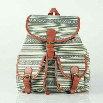 Day-First™ Cute Striped Large College Backpacks for School Bag Canvas Daypack Travel Bag