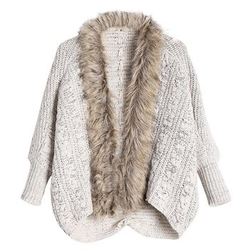 CharMma 2017 New Fashion Women Autumn Knitted Sweaters Cable Knit Faux Fur Trimmed Cardigan Female Long Sleeve Open Front