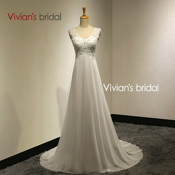 Vivians Bridal Summer Sexy Lace Appliques Chiffon Beach Wedding Dress 2015 Boho Cheap Robe De Mariage Bridal Gown Casamento VB10