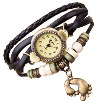 Surfer Girl Barefoot & Hearts Bracelet  Watch