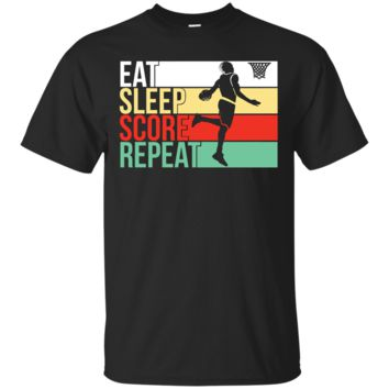 Eat Sleep Score Repeat T-Shirt Hoodie | Retro Vintage Basketball Tee