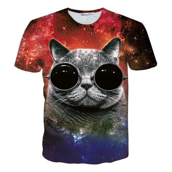 Cat Glasses Bright Galaxy Cat 3D Print Shirt