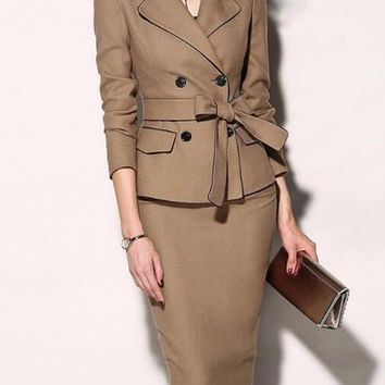 New Khaki Sashes Pockets Double Breasted Tailored Collar Two Piece Elegant Office Worker Midi Dress